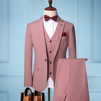 2019 autumn new men's long-sleeved casual trend suits men's fashion solid color three-piece suit (blazer + trousers + vest)