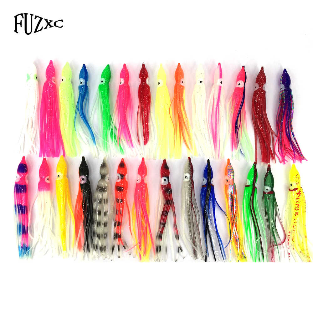 FUZXC 2pcs Soft Bait Squid Skirt Fishing Lure 1g Artificial Wobbler Jigs Head Silicone Worm Swimbait Shad Isca Pesca Fish Tackle