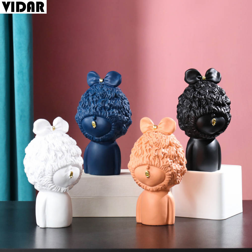 Vidar Nordic Resin Pout Baby Ornament Modern Europe Artsy Home Decor Bowknot Angel Sculpture Decoration Living Room Bedroom Statues Sculptures Aliexpress