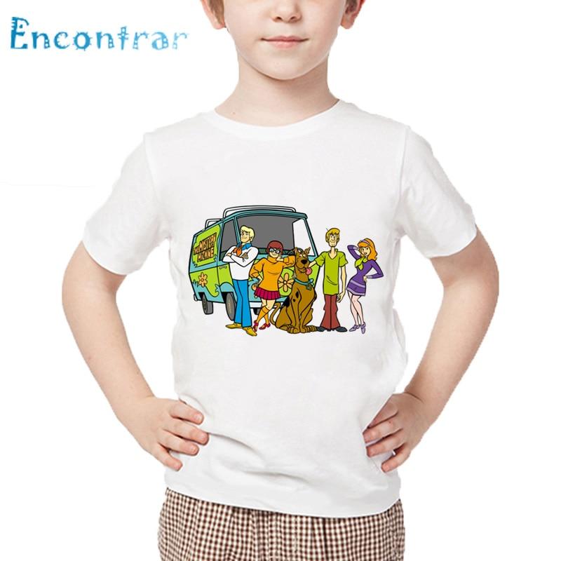 Детская футболка с героями мультфильмов «Скуби Ду тайна» Детская забавная одежда летние топы с короткими рукавами для маленьких мальчиков ...