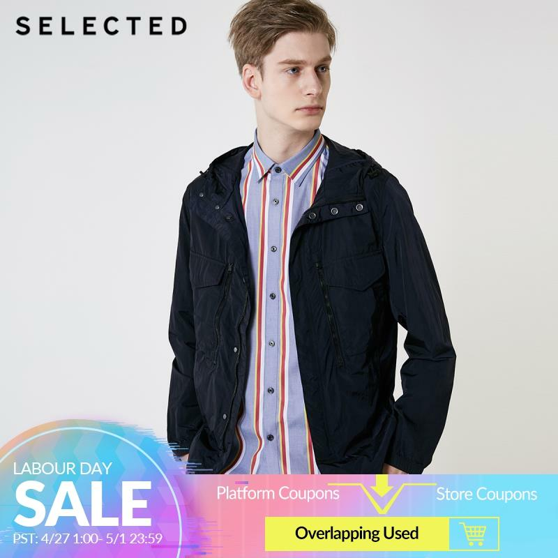 SELECTED Men's Spring Hooded Multi-pocket Workwear Outwear New Casual Functional Jacket S   419221509