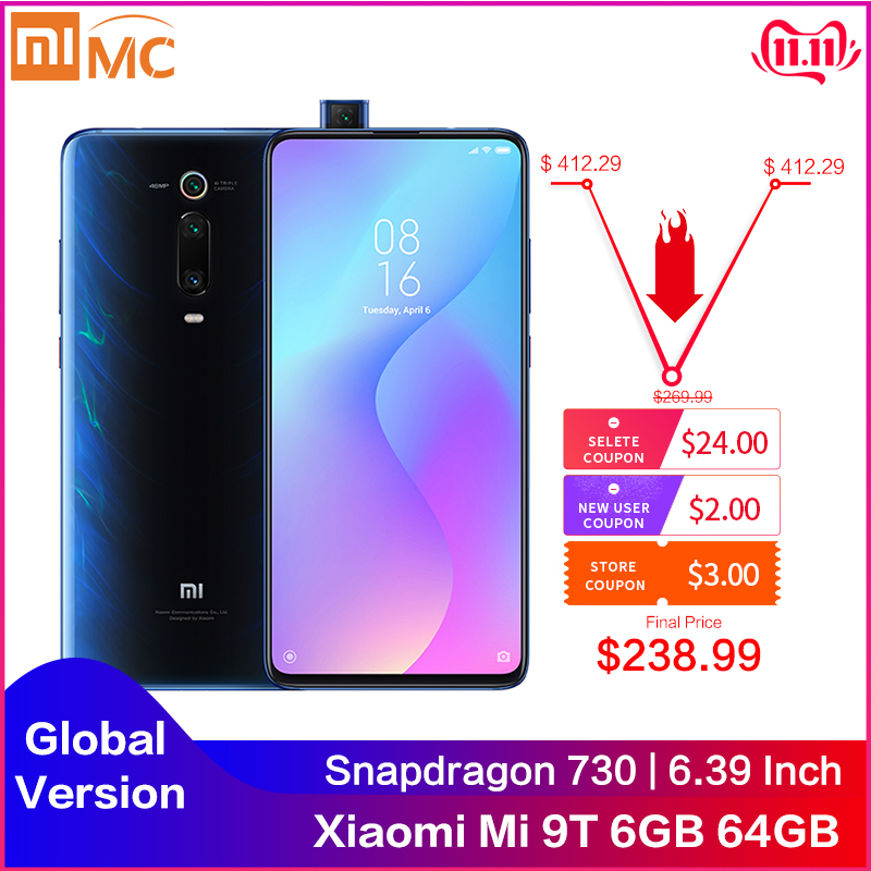 "Original Xiaomi Mi 9T 6GB 64GB Mobile Phone Snapdragon 730 AI 48MP AI Rear Camera 4000mAh 6.39"" AMOLED Display Global Version CE-in Cellphones from Cellphones & Telecommunications"