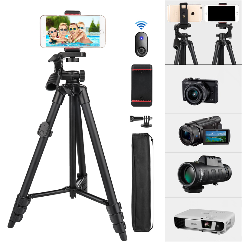 Phone Tripod 55inch Video Recording Camera Tripod Stand with Bluetooth Remote Travel Portable Selfie for Xiaomi Huawei TikTok