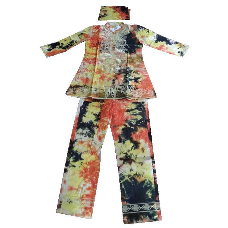 MD Bazin Riche דאשיקי חולצה מכנסיים סט Vetement Femme 2020 אפריקאי רקמת בגדים ארוך שרוול מכנסיים העליונים חליפה עם טורבן
