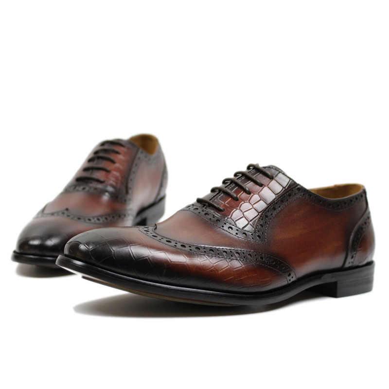 Vòng tay Nam Đầm Da Thật Da Giày Oxford Nâu Đen Wingtip Kinh Doanh Công Sở Buộc dây nam dành nam