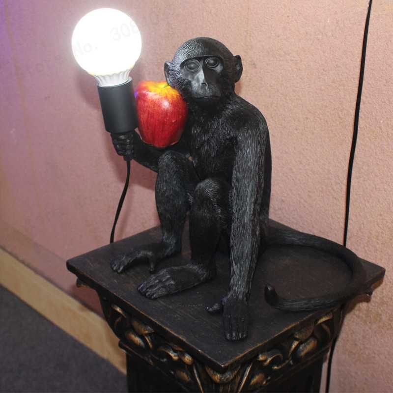 Светодиодный светильник из смолы обезьяны уникальная подвеска лампа из пеньковой веревки черно-белые подвесные лампы искусство Гостиная Кабинет Детская комната блеск E27