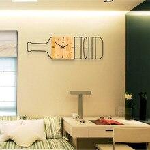 3d Простые креативные настенные часы в форме железной бутылки из цельного дерева, Квадратный Циферблат для гостиной, кухни, домашний декор, часы