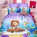 Фиолетовый Комплект постельного белья принцессы Софии 3D для девочек  декор для спальни  Двухслойное одеяло  пододеяльник  простыня для одно...