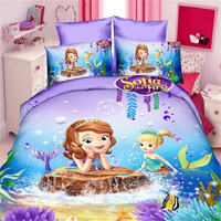 Purple Sofia Princess 3D Bedding Set for Girls Bedroom Decor Twin Quilt Duvet Cover Set Single Bed Sheet Baby Kids Home Linens
