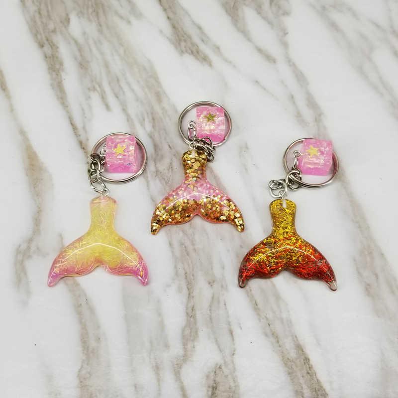 Queue de sirène enfants porte-clés paillettes porte-clés pendentifs décoratifs pour femmes sacs voiture clé téléphone accessoires fête de mariage maman cadeaux