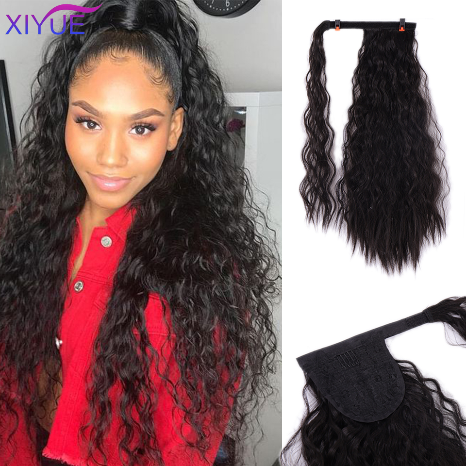 Long Afro Curly Synthetic Magic Paste Drawstring Ponytail Hairpieces Women Fake Pony Tail Hair Extension Clip Heat Resistant