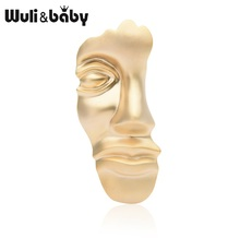 Wuli&baby Gold Color Half Face Brooches Women Men Alloy Popular Mask Brooch Pins Gifts