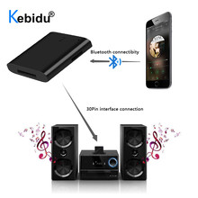 Kebidu Adaptador de receptor de música A2DP con Bluetooth, portátil, 1 LED, para iPod, para iPhone, 30 pines