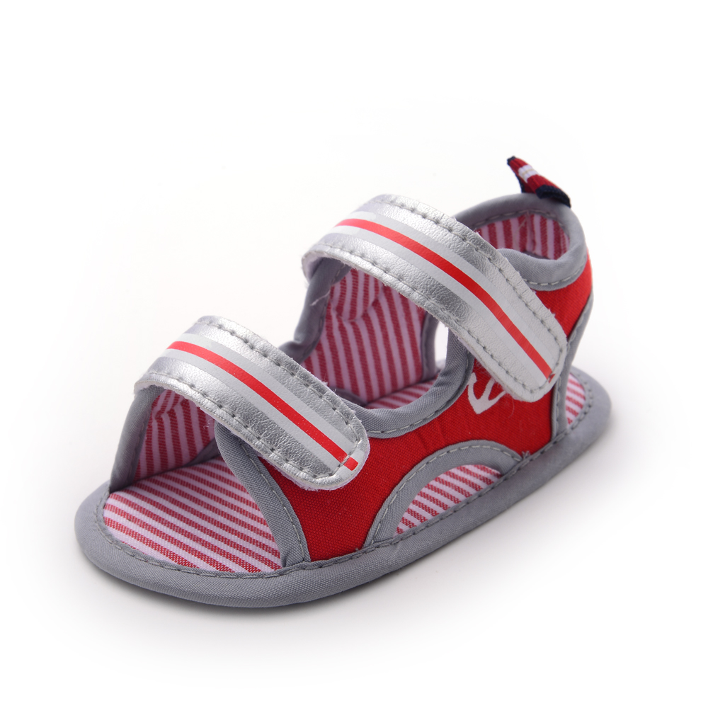 Delebao  Newdesign Summer Stripe Fashionable Element Pink Baby Girl Sandals For 0-18 Months Inant Toddler Sandals
