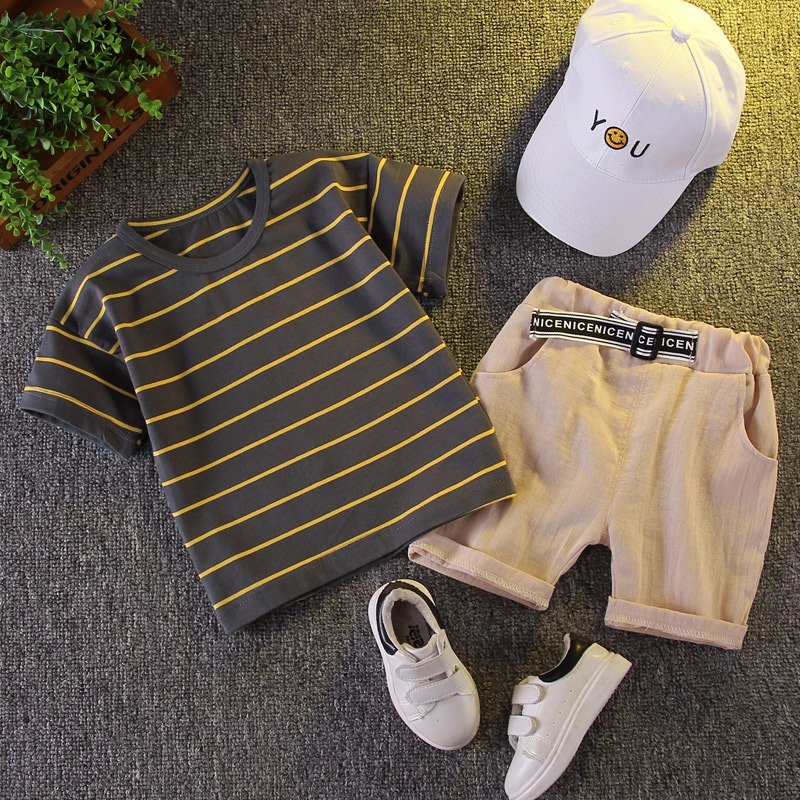 Baby Clothing Set For Boys Gentleman Suit Summer Casual Clothes Set Stripe Top Shorts Suits Kids Clothes 1-5 Years
