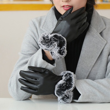 Fujin High Quality Women Leather Gloves Windproof Thermal Warm Touchscreen Fashion Glove Winter Warm Mittens
