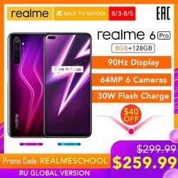 Realme 6 Pro 6pro 8GB RAM 128GB ROM versión Global teléfono móvil Snapdragon 720G 30W carga de Flash 64MP Cámara UE enchufe nfcelular