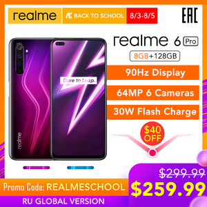 realme 6 Pro 6pro 8GB RAM 128GB ROM Global Version Mobile Phone Snapdragon 720G 30W Flash Charge 64MP Camera EU Plug NFCellphone(China)
