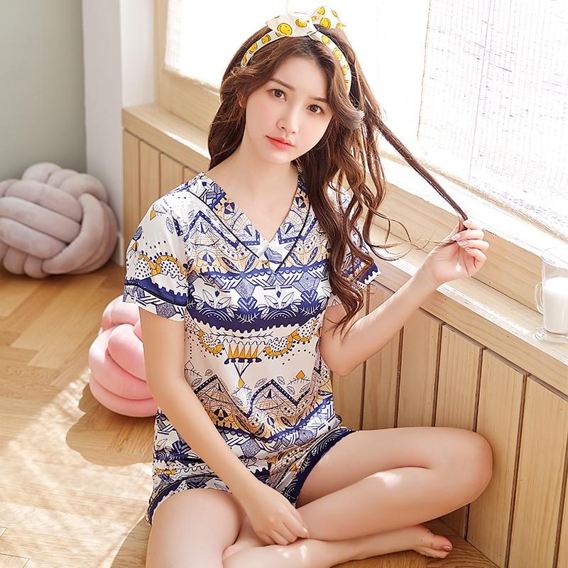 Women Sleepwear 2020 Summer Pajamas V-neck Silk Print Sweet Women Sleepwear Set Girl Nightgown Short Pant Cute Silk Pajamas Sets