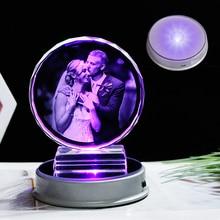 Cadre Photo en cristal personnalisé, coloré Base à LED photos gravées au Laser, cadeau, cadre Photo en verre personnalisé pour mariage