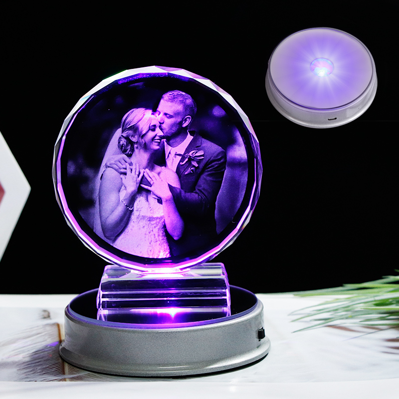 Customized Crystal Photo Frame Colorful LED Base Laser Engraved  Picture Souvenir Gift Personalized Glass Wedding Photo FrameFrame   -