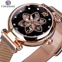 Forsining Ladies Watch Top Brand Luxury Female Watch Rose Gold Mesh Creative Diamond Flower Dial Mechanical Fashion Women Clock