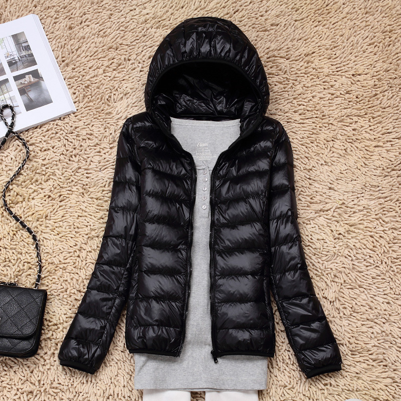 7XL Cheap Ultra Light Down Winter Warm Hooded Feather Puffer Jacket For Girl Short Spring Autumn Coat Female Women Big Size Duck