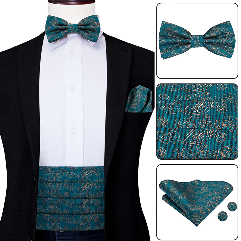 YF-2007 Mens Formal Silk Green Cummerbunds Bow Ties Hanky Cufflinks Set Men's Adjustable Pleated Tuxedo Cummerbunds Elastic Belt
