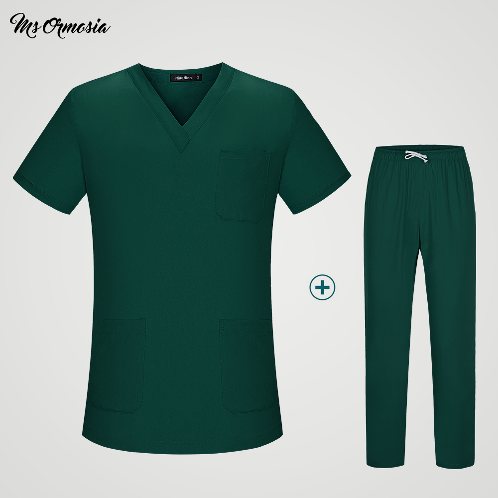 Tops And Pants Suit Women Uniform Medical Men And Women Suits Blue Surgical Gowns Clothesbrush Hand Clothes Nurse Doctor Cotton