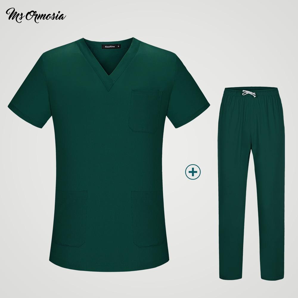 Tops And Pants Suit Women Uniform Medical Men And Women Suits Blue Surgical Gowns Clothesbrush Hand Clothes Nurse Doctor Cotton