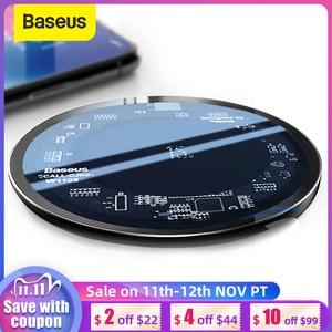 Image 1 - Baseus 10W Qi Carregador Sem Fio para o iphone X/XS Max XR 8 Plus Elemento Visível Carregamento Sem Fio pad para Samsung S9 S10 + Nota 9 10