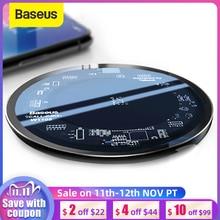 Baseus 10W Qi Kablosuz iphone şarj cihazı X/XS Max XR 8 Artı Görünür Eleman Kablosuz Şarj pad için Samsung s9 S10 + Not 9 10