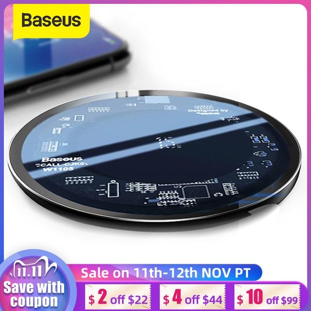 Baseus 15W צ י אלחוטי מטען עבור iPhone X/XS Max XR 8 בתוספת גלוי אלמנט אלחוטי טעינת pad עבור Samsung S9 S10 + הערה 9 10