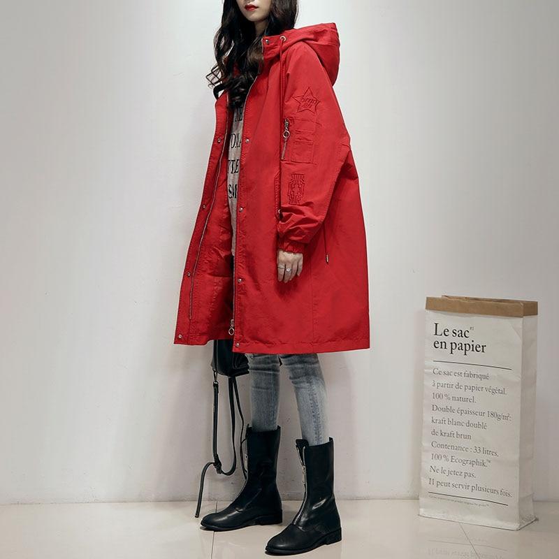 Women   Trench   Coat 2019 New Autumn Winter Hooded Medium Long Coat Fashion Ladies Loose Streetwear Oversize Korean   Trench   Coats