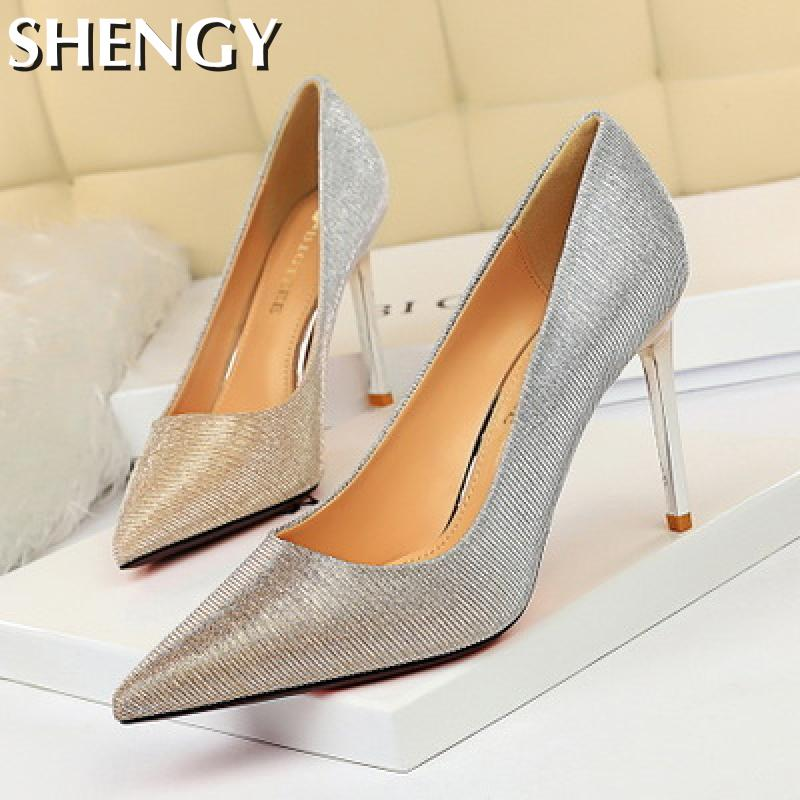 Women's Shoes High Heels Thin Heel Pointed Toe Shallow Gradient Bling High Heels Shoes Casual Office Dress High Heels For Female