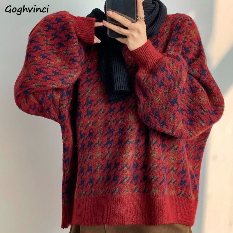 Women Pullover Patchwork Loose Lantern Sleeve Simple Knitted Sweater Female Elegant All match Trendy Oversize Streetwear Clothes