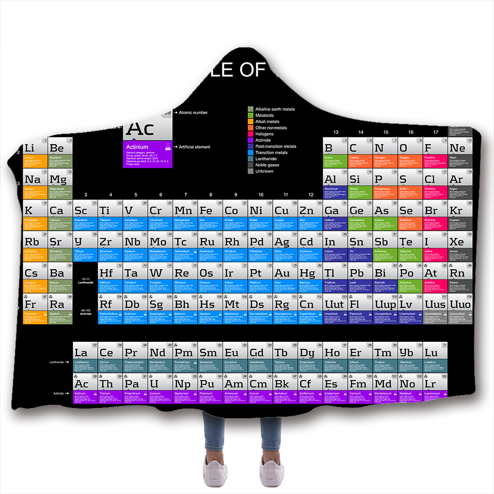 Hooded Blanket 3D Printed Element Periodic Table For Home Sofa Sherpa Fleece Hoodie Blanket Coral Throw Blanket Drop Shipping in Blankets from Home Garden