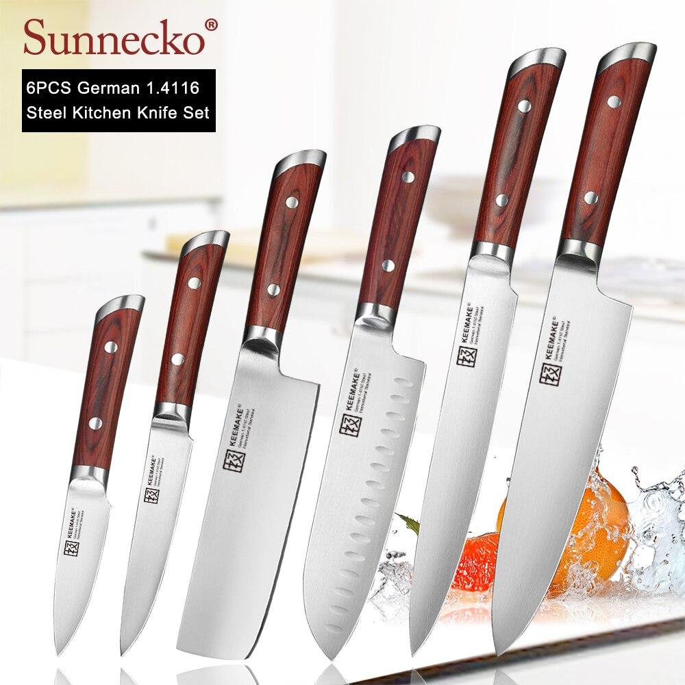 Cuchillo de Chef profesional SUNNECKO hoja de acero alemana 1,4116 cuchilla de rebanar pan Utility cortar cuchillos de cocina mango de madera de Color