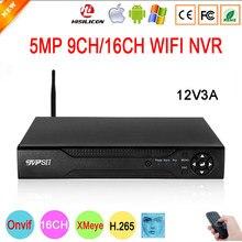 Controle remoto 12v 3a hi3536d xmeye áudio h.265 + max 8tb sata 5mp 16ch 16 canais 9ch detecção de rosto onvif wifi cctv dvr nvr