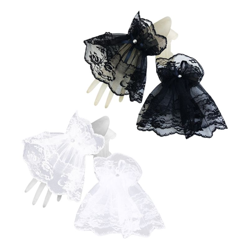 Womens Halloween Gothic Black Lace Wrist Cuffs Bracelets Wedding Party Sunscreen Rhinestone Bowknot Fingerless Gloves