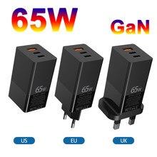 Gan 65 w carregador eua reino unido ue plugue três 3 porto qc pd 4.0 qc4.0 pd3.0 tipo-c USB-A telefone usb rápido carregamento 65 w carregador de parede
