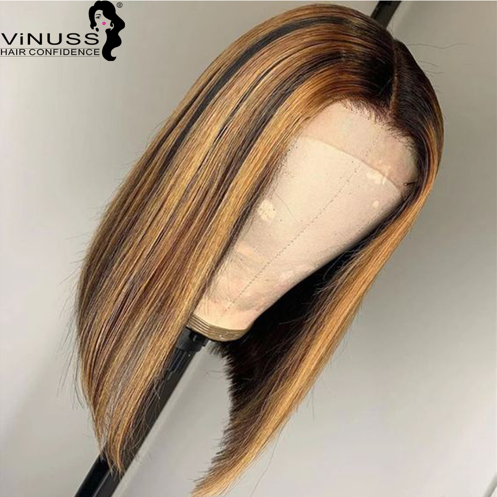 Ombre 1B#/27# Blonde Human Hair Lace Wig Highlight 13x6 Short Bob Lace Front Human Hair Wigs Pre Plucked Brazilian Remy Hair