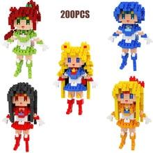 цена на hot LegoINGlys creators anime girl Sailor Moon Jupiter MARS Mercury Venus construction micro diamond blocks model nanoblock toys