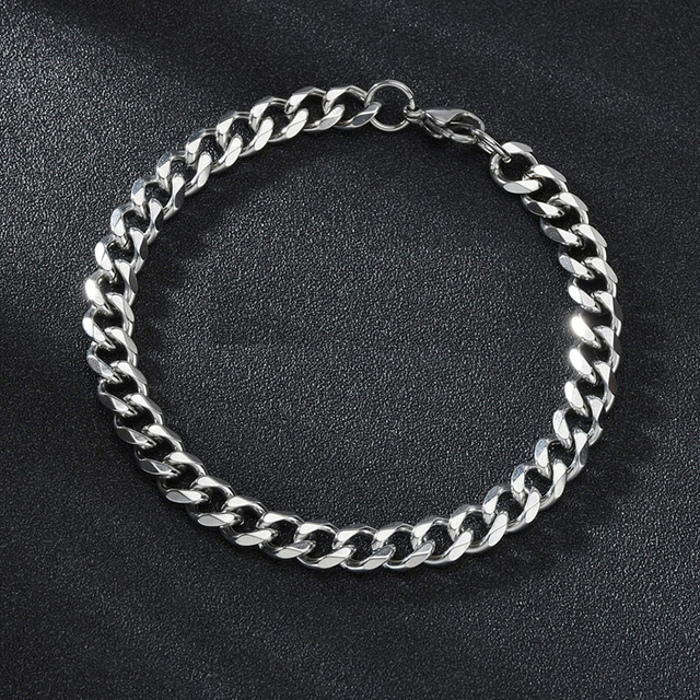 High Quality Stainless Steel Bracelets For Men Blank Color Punk Curb Cuban Link Chain Bracelets On the Hand Jewelry Gifts trend 6