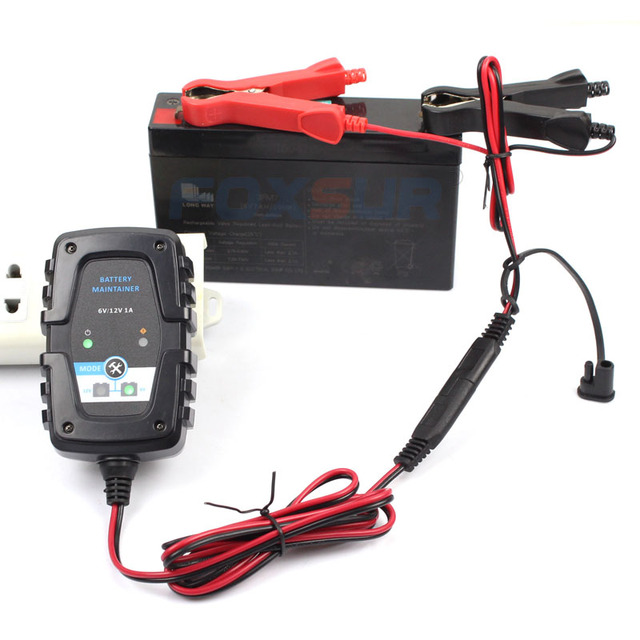 Foxsur 6V 12V 1A Auto Car Battery Charger Smart Battery Charger Maintenance For Car Motorcycle Cycle Agm Gel Vrla Battery Charge