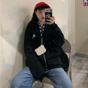 Image 5 - נים נשים קוריאני סגנון סטודנטים Loose רוכסן גדול Ulzzang כל להתאים פשוט אופנה מכתב מודפס Zip up נשים חולצות