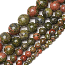 Wholesale Natural Stone Unakite Round Loose Beads 15 Strand 4 6 8 10 12MM Pick Size For Jewelry Making DIY Bracelet Necklace
