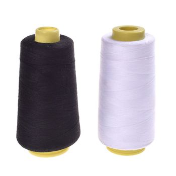 NEW Durable 3000M Yards Overlocking Sewing Machine Line Industrial Polyester Thread Metre Cones Black White Sew Thread image