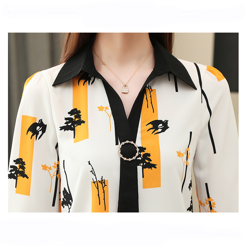 Elegant Loose Women Tops and Blouse Fashion Plus Size Tops 2021 Spring Long Sleeve Print Office Lady Shirt  Blusas 8087 50 6