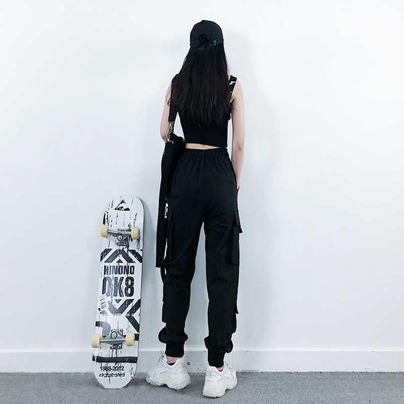 Moda feminina streetwear carga calças preto tornozelo comprimento cintura elástica joggers feminino calças soltas casuais plus size haren calças